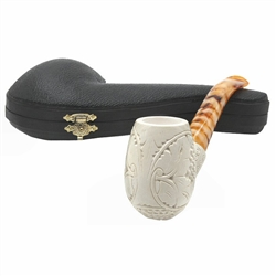 Deluxe Embossed Grapes and Leaves Block Meerschaum Pipe