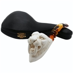 Deluxe Saber Tooth Tiger Block Meerschaum Pipe