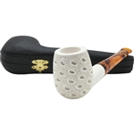 Sideways Teardrop Lattice Block Meerschaum Pipe