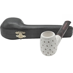 Lattice Straight Stem Block Meerschaum Pipe