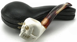 Hand Carved Smooth Skull Meerschaum Pipe