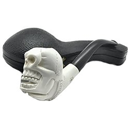 Hand Carved Skull in Hand Meerschaum Pipe
