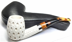 Deluxe Hand Carved Teardrop Lattice with Silver Trim Ring Meerschaum Pipe