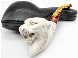 Deluxe Hand Carved Tiger with Designer Stem Meerschaum Pipe