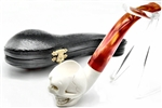 Hand Carved Oom Paul Style Skull Meerschaum Pipe