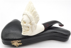 Hand Carved Indian Skull with Smooth Bottom Meerschaum Pipe