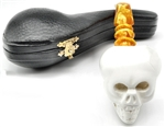 Hand Carved Skull with Designer Stem Meerschaum Pipe