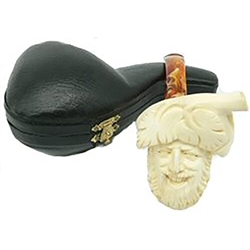 Hand Carved Laughing Bacchus Meerschaum Pipe