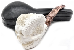 Hand Carved Skull with Snake in Eye Meerschaum Pipe