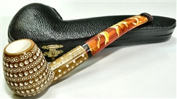 Deluxe Hand Carved Colored Round Lattice Meerschaum Pipe