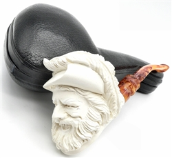 Deluxe Hand Carved Laughing Cavalier with Carved Shank and Designer Stem Meerschaum Pipe