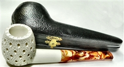 Hand Carved Teardrop Lattice Straight Stem Meerschaum Pipe