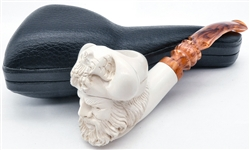 Hand Carved Viking with Flying Eagle with Designer Stem Meerschaum Pipe