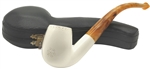Hand Carved Smooth Lattice Accents Block Meerschaum Pipe