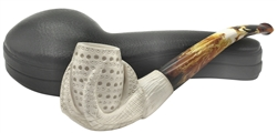 Hand Carved Lattice Claw Meerschaum Pipe Block Meerschaum Pipe