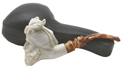 Hand Carved Signed Alp Sultan Block Meerschaum Pipe
