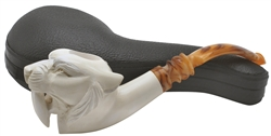 Hand Carved Saber Tooth Tiger Block Meerschaum Pipe