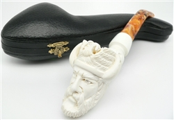 Hand Carved Viking Knurl Stem Meerschaum Pipe