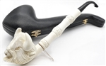 Special Hand Carved Buffalo Head Saxophone Meerschaum Pipe