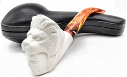 Hand Carved Double Head Lion and Indian Meerschaum Pipe