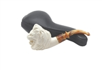 Hand Carved Lion Head Block Meerschaum Pipe