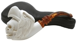 Deluxe Double Head Eagle Skull Block Meerschaum Pipe