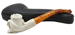 Hand Carved Smooth Freeform Block Meerschaum Pipe