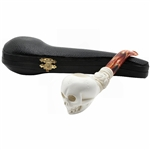 Skull with Fancy Knurl Block Meerschaum Pipe