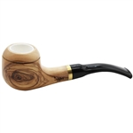 Meerschaum Lined Carved Rim Olive Wood Pipe