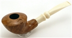 Smooth Italian Briar Pipe with Pearled White Stem