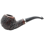 Dark Rusticated Design with Silver Trim Band Briar Pipe