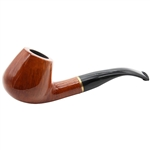 Colton German Bent Stem with Gold Trim Ring Briar Pipe