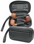 Black PU Leather Pipe Combo Pouch
