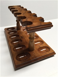 12-Pipe Teak Wood Pipe Rack