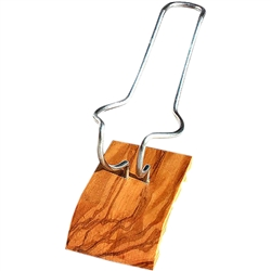 Olive Wood Single Pipe Stand - Silver