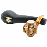 Colored Lattice Claw Block Meerschaum Pipe