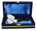 Mini Deluxe Hand Carved Cavalier Meerschaum Pipes with Velvet Chest