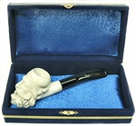 Mini Deluxe Hand Carved Dunhill Meerschaum Pipes with Velvet Chest