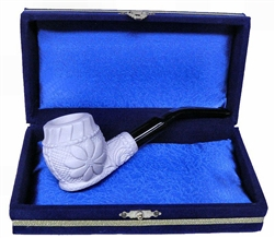 Mini Deluxe Hand Carved Floral Meerschaum Pipes with Velvet Chest