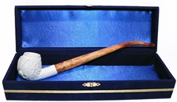 Standard Embossed Dragon Churchwarden Meerschaum Pipes with Velvet Chest