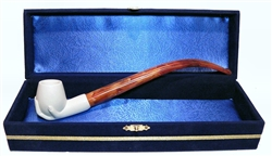 Standard Hand Churchwarden Meerschaum Pipes with Velvet Chest