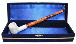 Standard Billiard Lattice Churchwarden Meerschaum Pipes with Velvet Chest