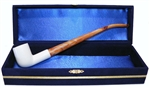 Standard Billiard Smooth Churchwarden Meerschaum Pipes with Velvet Chest