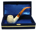 Standard Sitting Lattice Meerschaum Pipes with Velvet Chest