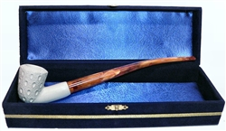 Standard Dublin Lattice Churchwarden Meerschaum Pipes with Velvet Chest