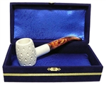Standard Poker Lattice Meerschaum Pipes with Velvet Chest