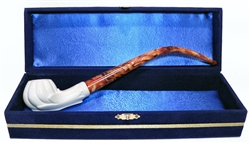 Standard Classic Imperial Churchwarden Meerschaum Pipes with Velvet Chest