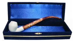 Standard Bulldog Smooth Churchwarden Meerschaum Pipes with Velvet Chest