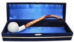 Standard Apple Lattice Churchwarden Meerschaum Pipes with Velvet Chest
