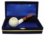 Standard Apple Smooth Bent Meerschaum Pipes with Velvet Chest